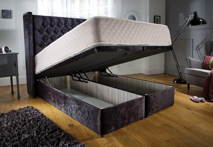 Fabulous End Opening Ottoman Storage Bed With Wingback Headboard Gmtry Best Dining Table And Chair Ideas Images Gmtryco