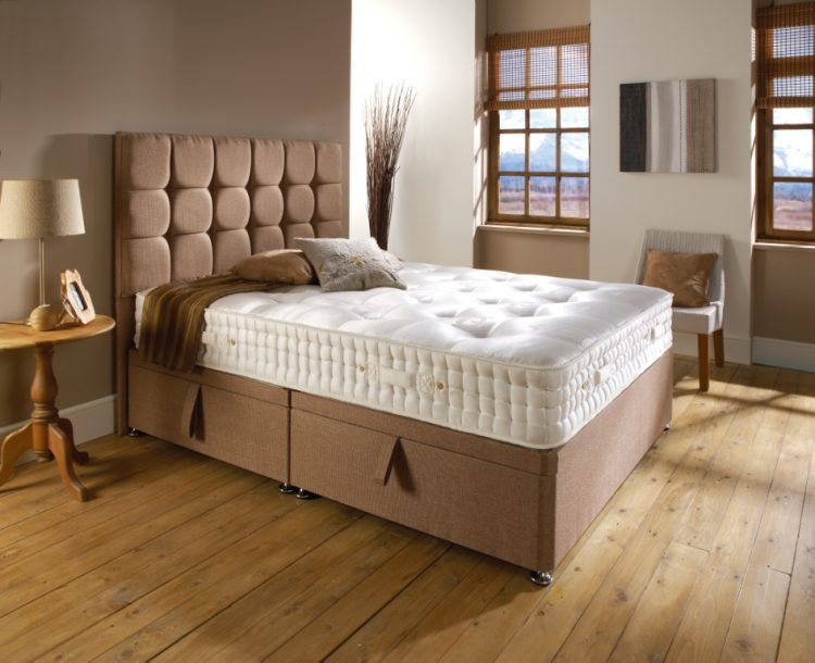 Side lift divan ottoman storage bed closed view