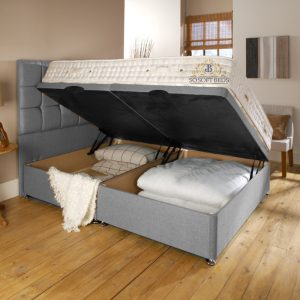 Loft Bed - 2 Piece Single Side Opening Ottoman Storage Bedframe 29