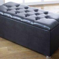 Black ottoman storage box in Faux Leather