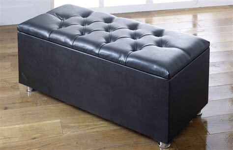Black ottoman storage box in Faux Leather