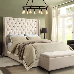 Ottoman Bed Tall Wingback Headboard