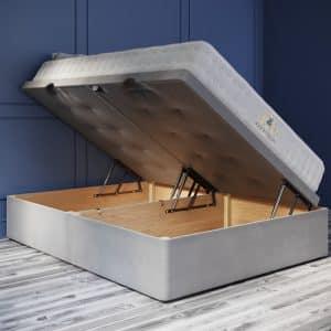 Ottoman Bed 44cm Deep Side Opening Base plush velvet grey, Open Position