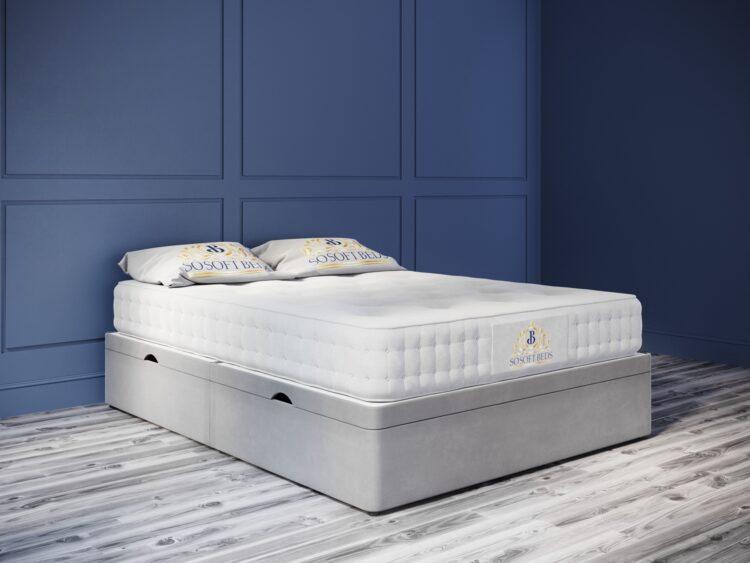 Ottoman Bed 44cm Deep Side Opening Base plush velvet grey