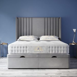 Wingback Moonlight Ottoman Bed Panel Headboard With Optional Mattress 26