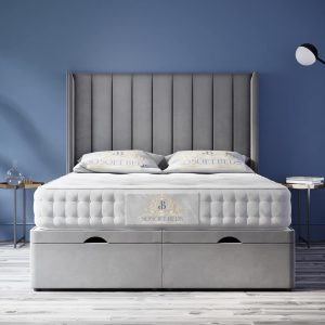 Wingback Elegant Ottoman Bed Panel Headboard With Optional Mattress 11
