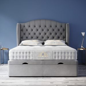 Majestic Ottoman Bed Chesterfield Wingback Headboard With Optional Mattress 5