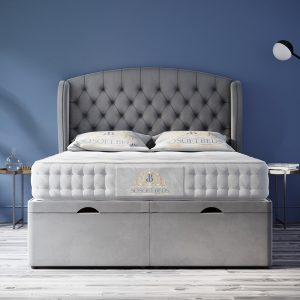 Safina Wingback Chesterfield Ottoman Bed Chesterfield Wingback Headboard With Optional Mattress 2